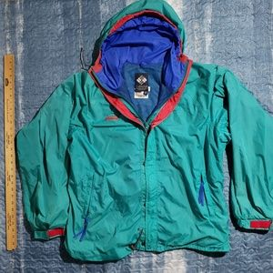 Mens Tops Vintage Columbia Aqua Windbreaker